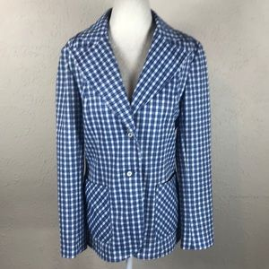 Vintage 1970s plaid blazer retro hipster large